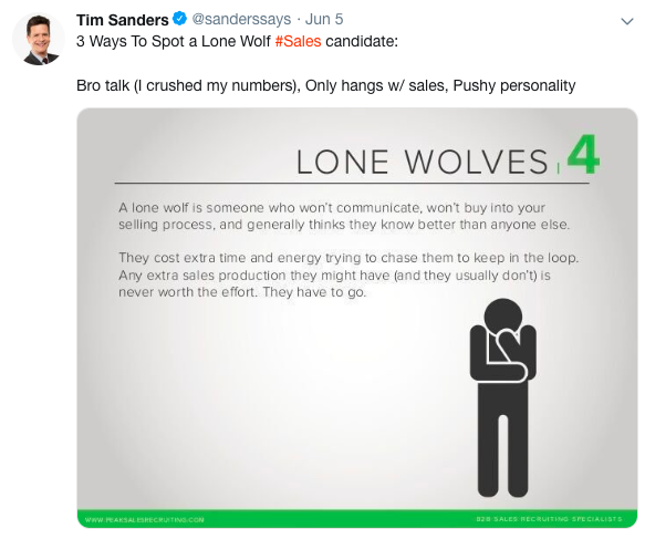 Team Selling Time Sanders: Avoid lone wolves