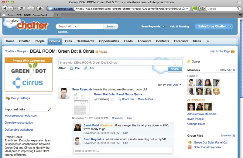 A preview of the Salesforce Chatter platform.