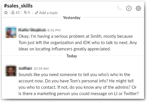 Slack for Sales: great advice can be pinned for later as an easy reference point