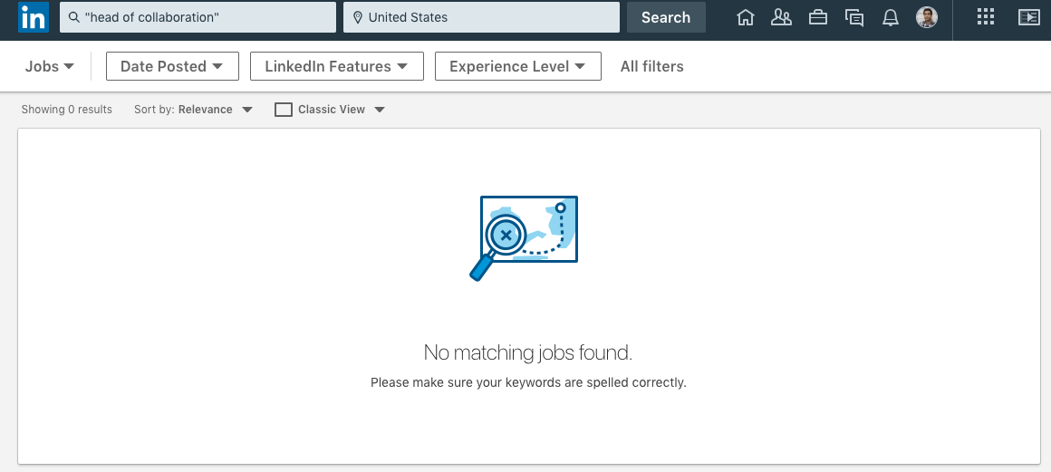"""Collaboration Hub: When searching the job title """"Head of Collaboration"""" on LinkedIn, no results are displayed."""