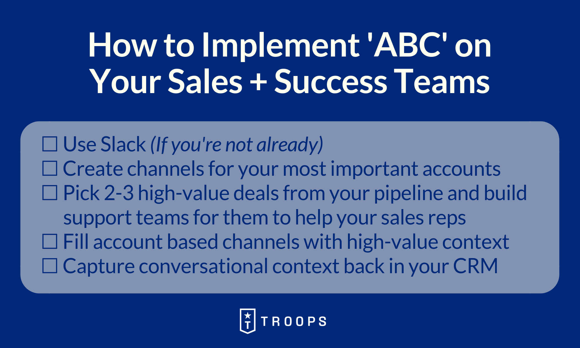 How to Implement ABC Your Sales + Success Teams