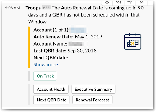 Troops alerts help Rona's team kickstart a QBR and update its status from within Slack.