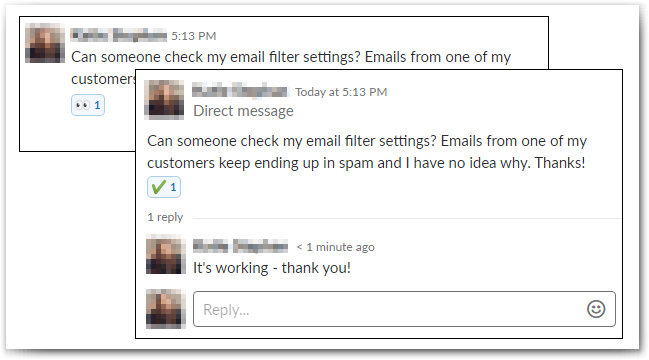 Slack Best Practices: When the request has been completed, it gets marked with a check mark.