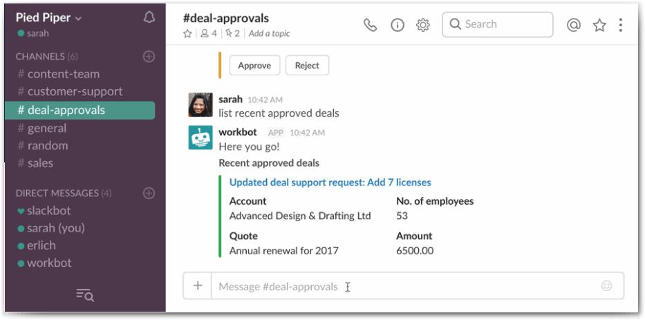 Workato provides a list command within Slack.