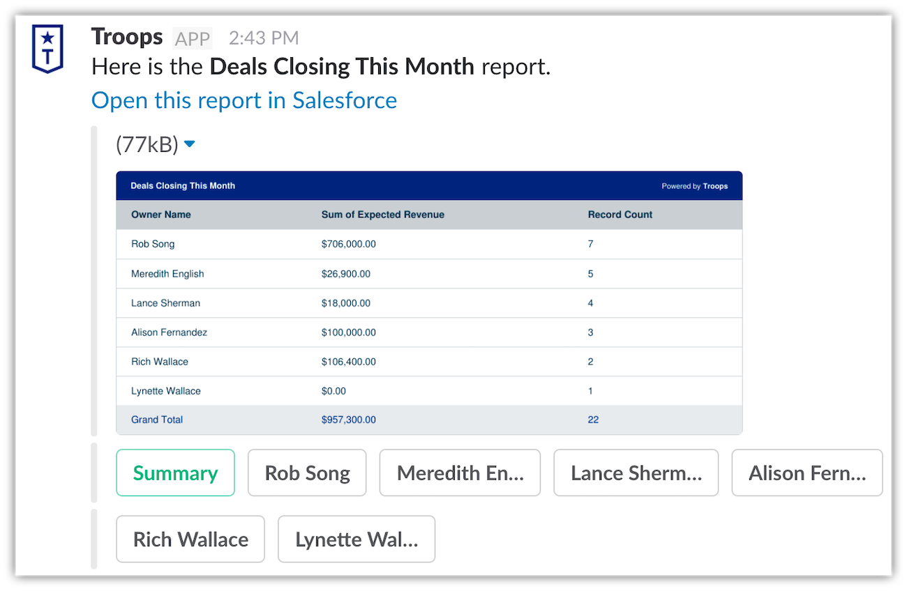 """Troops allows you to easily see the """"Deals Closing This Month"""" report."""