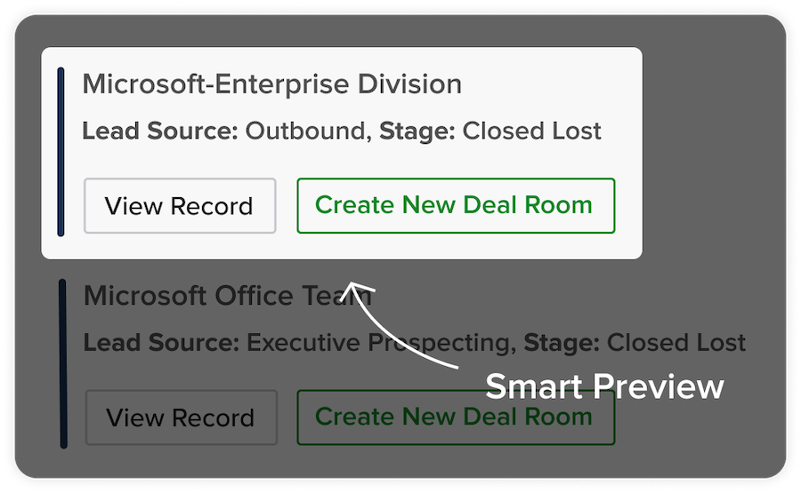 Lead Source: Outbound, Stage: Closed Lost - Create New Deal Room