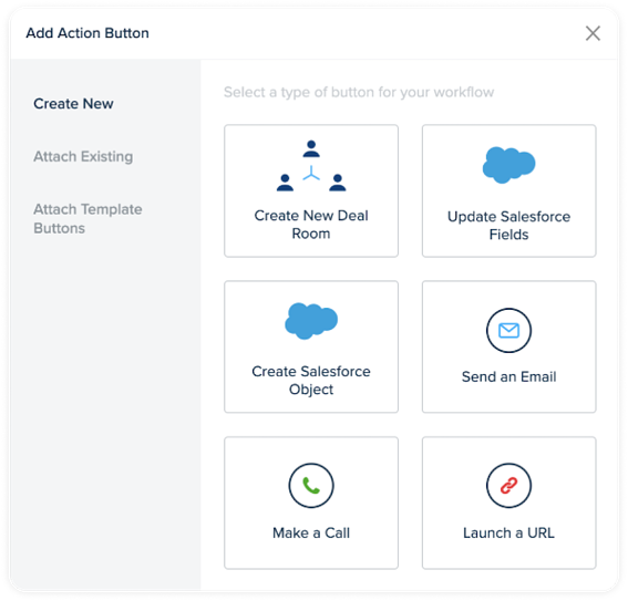 Add Action Button: Create New Deal Room, Update Salesforce Fields, Create Salesforce Object, Send an email, Make a call, Launch a URL.