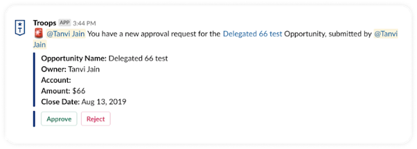 Troops Approval Requests: You have a a new approval request opportunity.