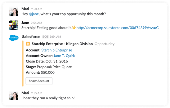When a Salesforce link is shared in Slack, the app automatically displays context on that unique record.