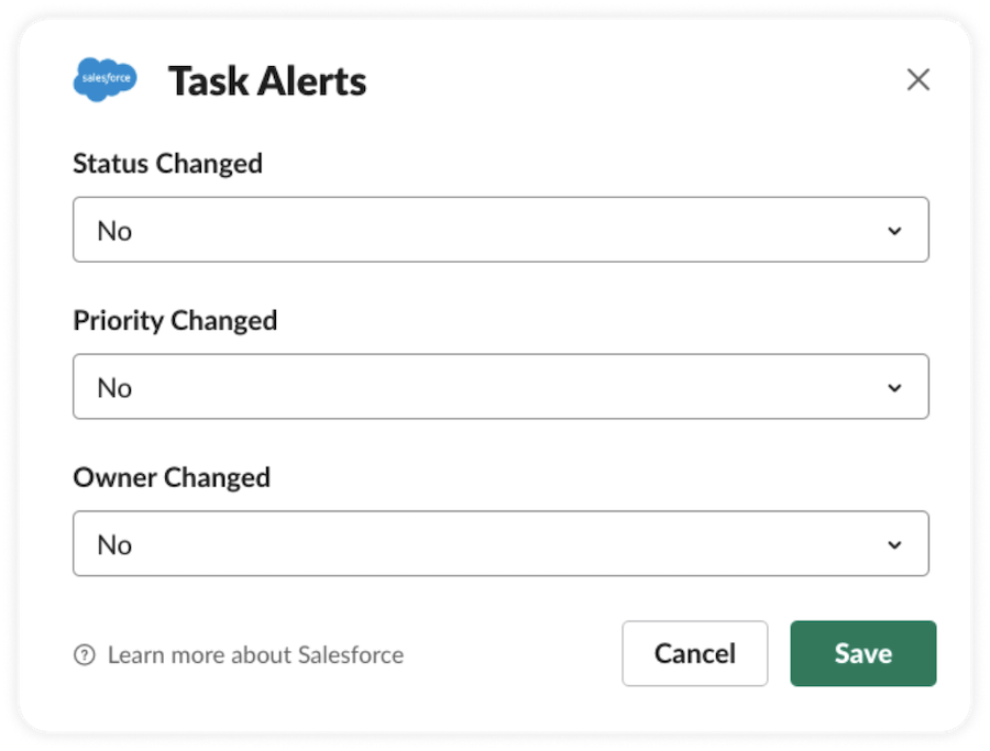 Task alerts and Status/Priority/Owner changed.