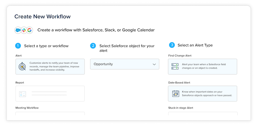Create a new workflow with Slack, Salesforce, or Google Calendar.