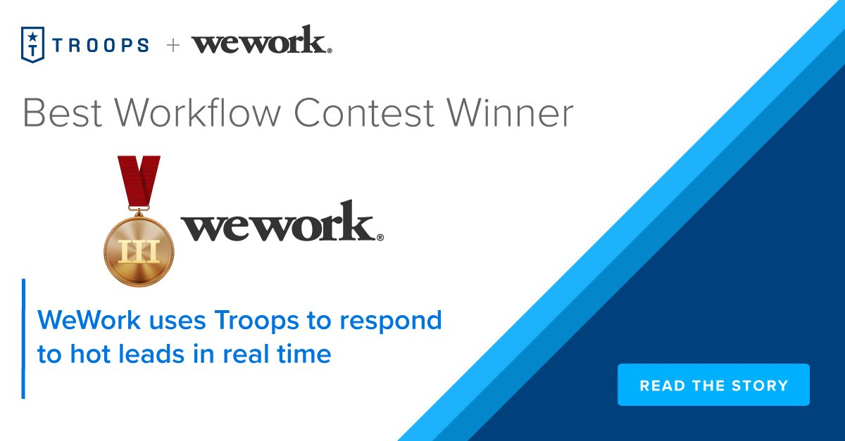 Best workflows contest, 3rd Prize: WeWork uses Troops to respond to hot leads in real time