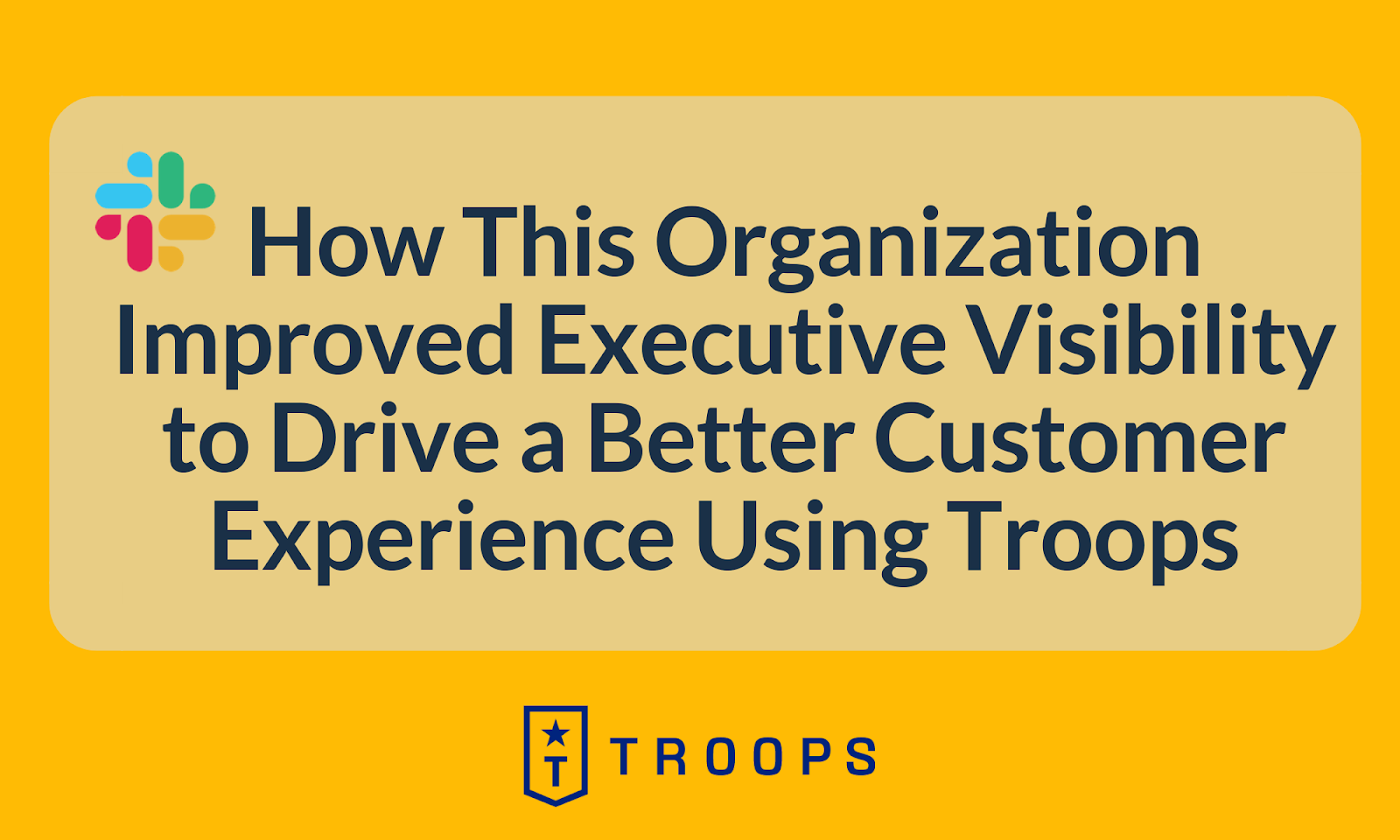 How This Organization Improved Executive Visibility to Drive a Better Customer Experience Using Troops