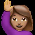 Person Raising Hand: Medium Skin Tone on Apple iOS 12.1